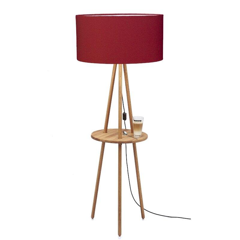 Stehleuchte mit Tisch Filz Rot
